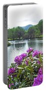 Rhododendron Blossoms And Mountain Pond Portable Battery Charger