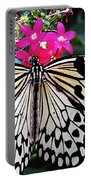 Rice Paper Butterfly On Pink Portable Battery Charger