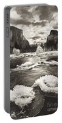 Rime Ice On The Merced In Black And White Portable Battery Charger