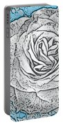 Ritzy Rose With Ink And Blue Background Portable Battery Charger