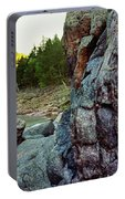 River Flowing Through Rocks, Black Portable Battery Charger