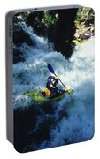River Kayaking Over Waterfall, Crested Portable Battery Charger