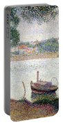 River Landscape With A Boat Portable Battery Charger by Georges Pierre Seurat