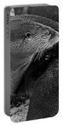 River Otter In Black And White Portable Battery Charger