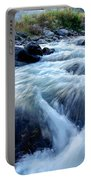 River Water Flowing Through Rocks At Dawn Portable Battery Charger