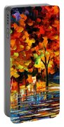 Rivershore Park - Palette Knife Oil Painting On Canvas By Leonid Afremov Portable Battery Charger