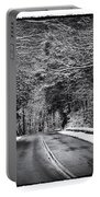 Road Through Dark Snowy Forest E93 Portable Battery Charger