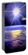 Robot Arm Over Earth With Sunburst  Portable Battery Charger