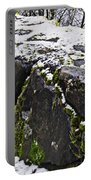 Rock Wall With Moss And A Dusting Of Snow Art Prints Portable Battery Charger