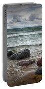 Rocks And Waves At Wilderness Park In Sturgeon Bay Portable Battery Charger
