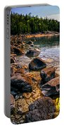 Rocks At Shore Of Georgian Bay Portable Battery Charger