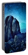 Rocky Cliff In Starlight Portable Battery Charger
