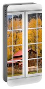 Rocky Mountain Autumn Ranch White Window View Portable Battery Charger