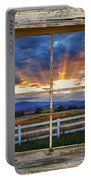 Rocky Mountain Country Beams Of Sunlight Rustic Window Frame Portable Battery Charger