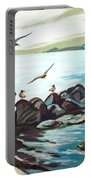 Rocky Seashore And Seagulls Portable Battery Charger