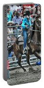 Rodeo Cowgirl Portable Battery Charger by Gary Keesler