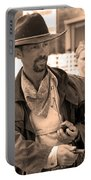 Rodeo Gunslinger With Saloon Girls Sepia Portable Battery Charger