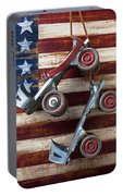 Rollar Skates With Wooden Flag Portable Battery Charger