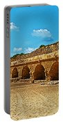 Roman Aqueduct From Mount Carmel 12 Km Away To Mediterranean Shore In Caesarea-israel  Portable Battery Charger