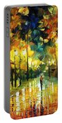 Romantic Lights - Palette Knife Oil Painting On Canvas By Leonid Afremov Portable Battery Charger