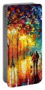 Romantic Stroll - Palette Knlfe Oil Painting On Canvas By Leonid Afremov Portable Battery Charger