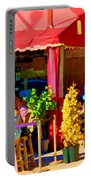 Romantic Terrace Dinner Date Piazzetta Bistro Rue St Denis French Cafe Street Scene Carole Spandau  Portable Battery Charger