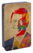 Ronald Reagan Watercolor Portrait On Worn Distressed Canvas Portable Battery Charger