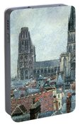 Roofs Of Old Rouen Grey Weather  Portable Battery Charger