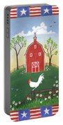 Rooster Americana Portable Battery Charger by Linda Mears