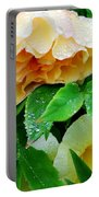 Rose And Leaves On A Rainy Day Portable Battery Charger