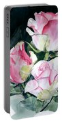 Watercolor Of A Pink Rose Bouquet Celebrating Ezio Pinza Portable Battery Charger