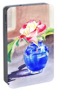 Rose In The Blue Vase  Portable Battery Charger