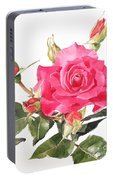 Watercolor Red Rose Margaret Portable Battery Charger