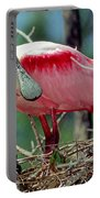Roseate Spoonbill Adult In Breeding Portable Battery Charger