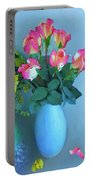 Roses And Flowers In A Vase Portable Battery Charger