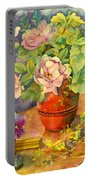 Roses And Pansies Portable Battery Charger by Julia Rowntree