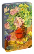 Roses And Pansies Portable Battery Charger