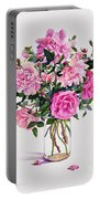 Roses In A Glass Jar  Portable Battery Charger by Christopher Ryland