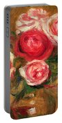 Roses In A Pot Portable Battery Charger by Pierre Auguste Renoir