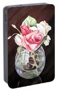 Roses In The Glass Vase Portable Battery Charger