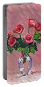 Roses On Pink Portable Battery Charger