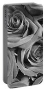 Roses On Your Wall Black And White  Portable Battery Charger