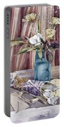 Roses Tulips And Striped Curtains Portable Battery Charger by Julia Rowntree