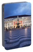 Rossio Square At Night In Lisbon Portable Battery Charger