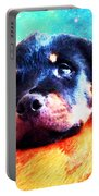 Rottie Puppy By Sharon Cummings Portable Battery Charger by Sharon Cummings