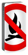 Round Fire Ban Sign Symbol Isolated On White Portable Battery Charger