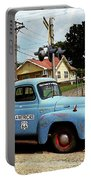 Route 66 - Gas Station With Watercolor Effect Portable Battery Charger by Frank Romeo
