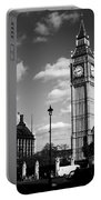 Routemaster Bus On Black And White Background Portable Battery Charger