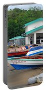 Row Boats On Beach Portable Battery Charger