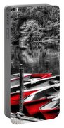 Row Of Red Rowing Boats Portable Battery Charger